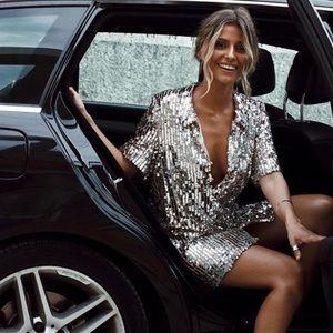 NWT Zara Sequin Shirt Dress